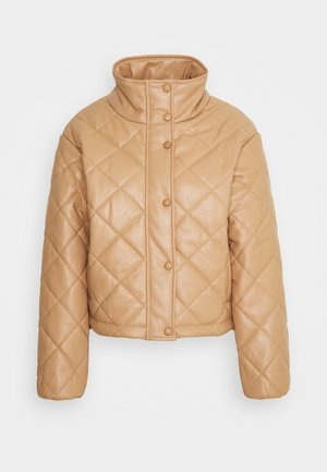QUILTED JACKET WITH BUTTON DETAIL - Summer jacket - mocha