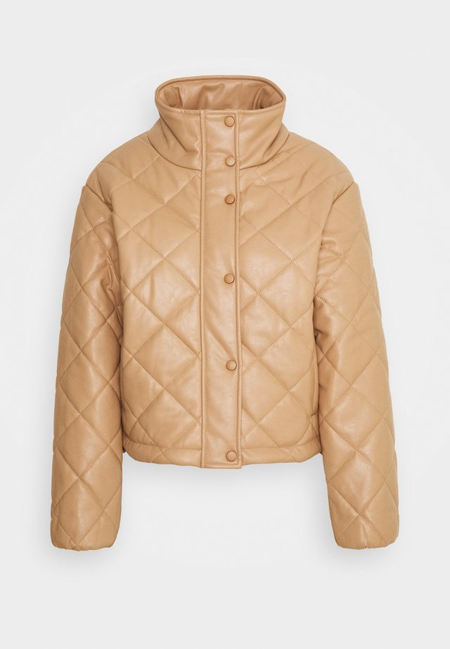 QUILTED JACKET WITH BUTTON DETAIL - Kurtka wiosenna - mocha