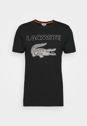 LOGO SLOGAN - T-shirt imprimé - black/flour