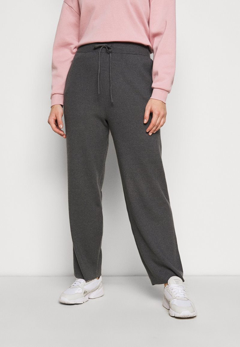 Anna Field Curvy - Tracksuit bottoms - mottled dark grey