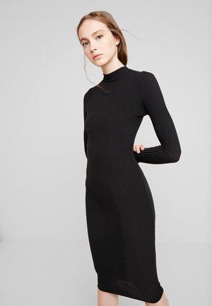 TURTLE NECK MIDI - Shift dress - black