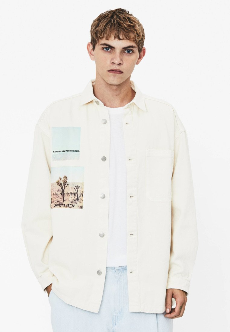 Bershka - Denim jacket - white