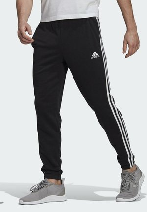 ESSENTIALS FRENCH TERRY TAPERED 3-STRIPES JOGGERS - Träningsbyxor - black
