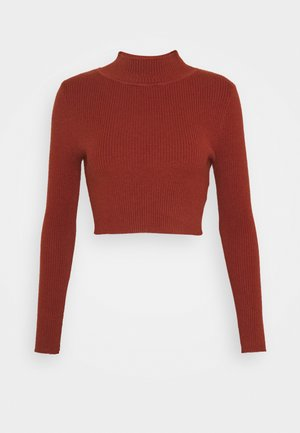 CROPPED JUMPER WITH LONG SLEEVES AND HIGH ROUND NECKLINE - Strikkegenser - rust