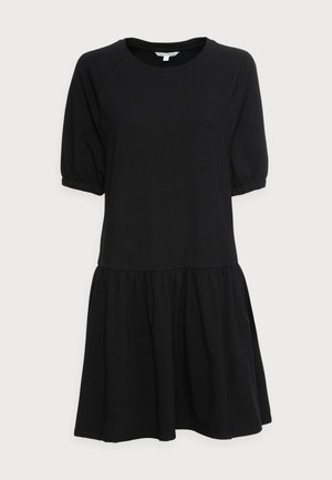 BALLOON SLEEVE DRESS - Žerzejové šaty - deep black