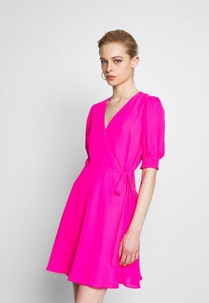 SMOCKED PUFF VNECK WRAP  - Day dress - neon fuschia