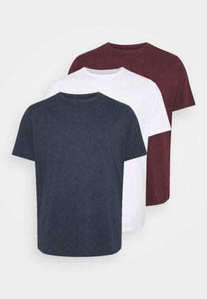 3 PACK - Basic T-shirt - blue/bordeaux/white