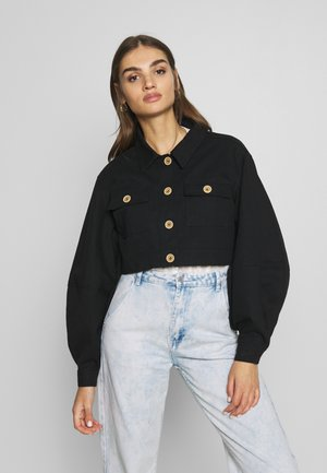 BALLOON SLEEVE SHACKET - Denim jacket - black