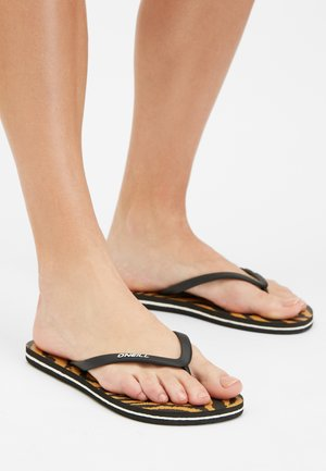 T-bar sandals - black with brown