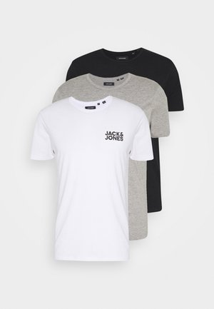 JACRETRO TEE 3 PACK - Unterhemd/-shirt - black/white/light grey melange