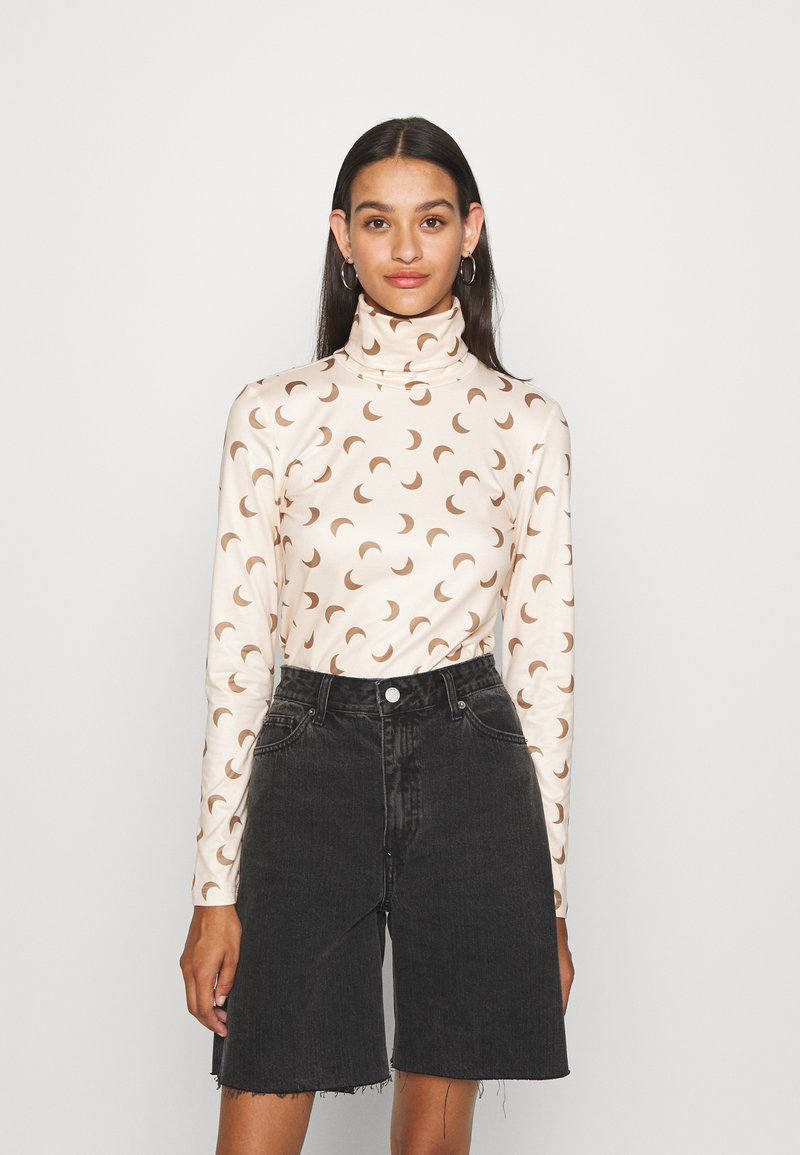 Pieces - PCNALA PRINT TURTLE NECK - Long sleeved top - nude/brown