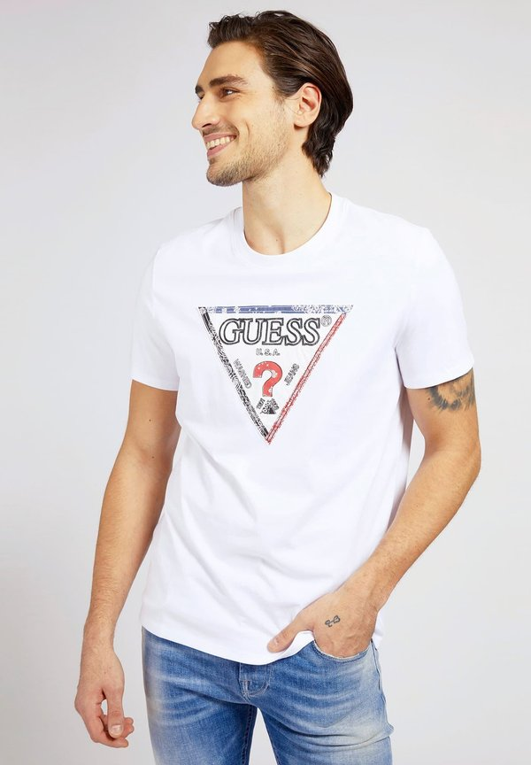 Guess TRIESLEY TEE - T-shirt z nadrukiem - weiß/biały Odzież Męska OCLC