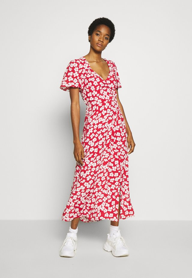 BETWEEN YOU AND I MIDI DRESS - Day dress - red/white