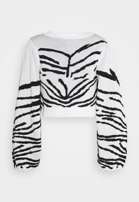 Topshop - IDOL ZEBRA PUFF SLEEVE CROP - Jumper - mono - 0