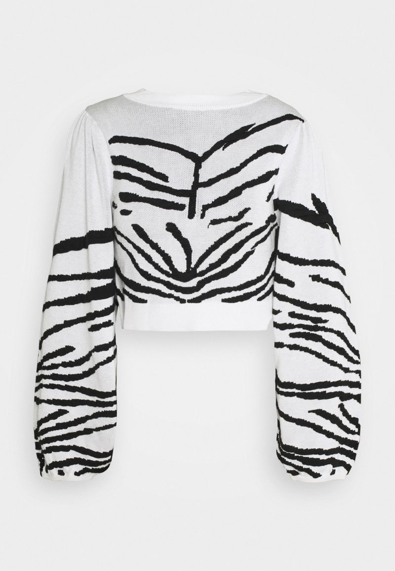 Topshop - IDOL ZEBRA PUFF SLEEVE CROP - Jumper - mono