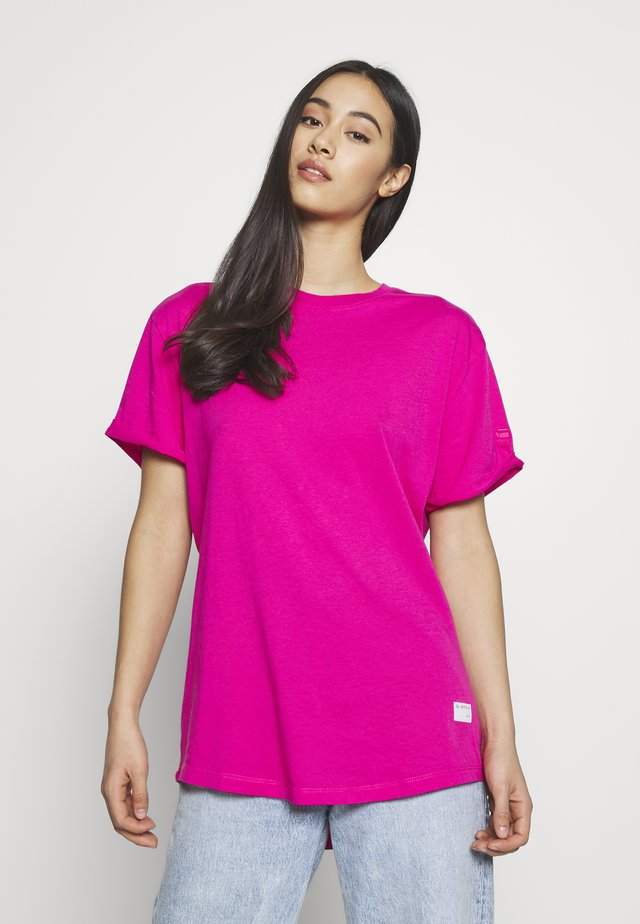 LASH FEM LOOSE ROUND SHORT SLEEVE - T-shirts basic - bright rebel pink