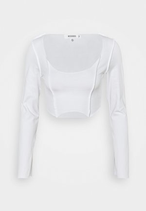 RAW EDGE EXPOSED SEAM LONG SLEEVE - Pitkähihainen paita - white
