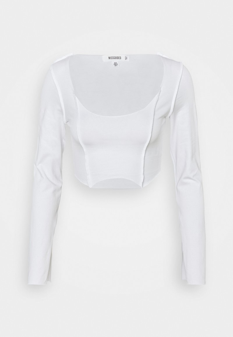 Missguided - RAW EDGE EXPOSED SEAM LONG SLEEVE - Long sleeved top - white