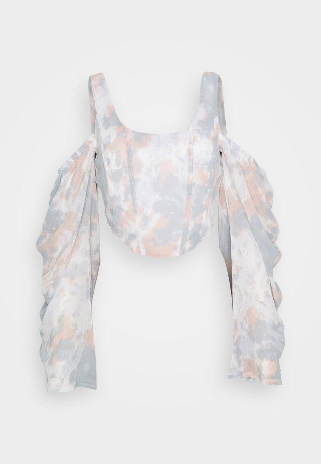 COLD SHOULDER CORSET MARBLE - Blouse - pink