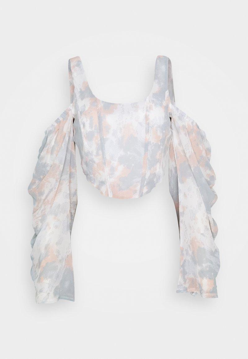 Missguided - COLD SHOULDER CORSET MARBLE - Blusa - pink