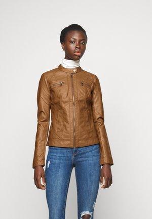 ONLBANDIT BIKER - Faux leather jacket - cognac
