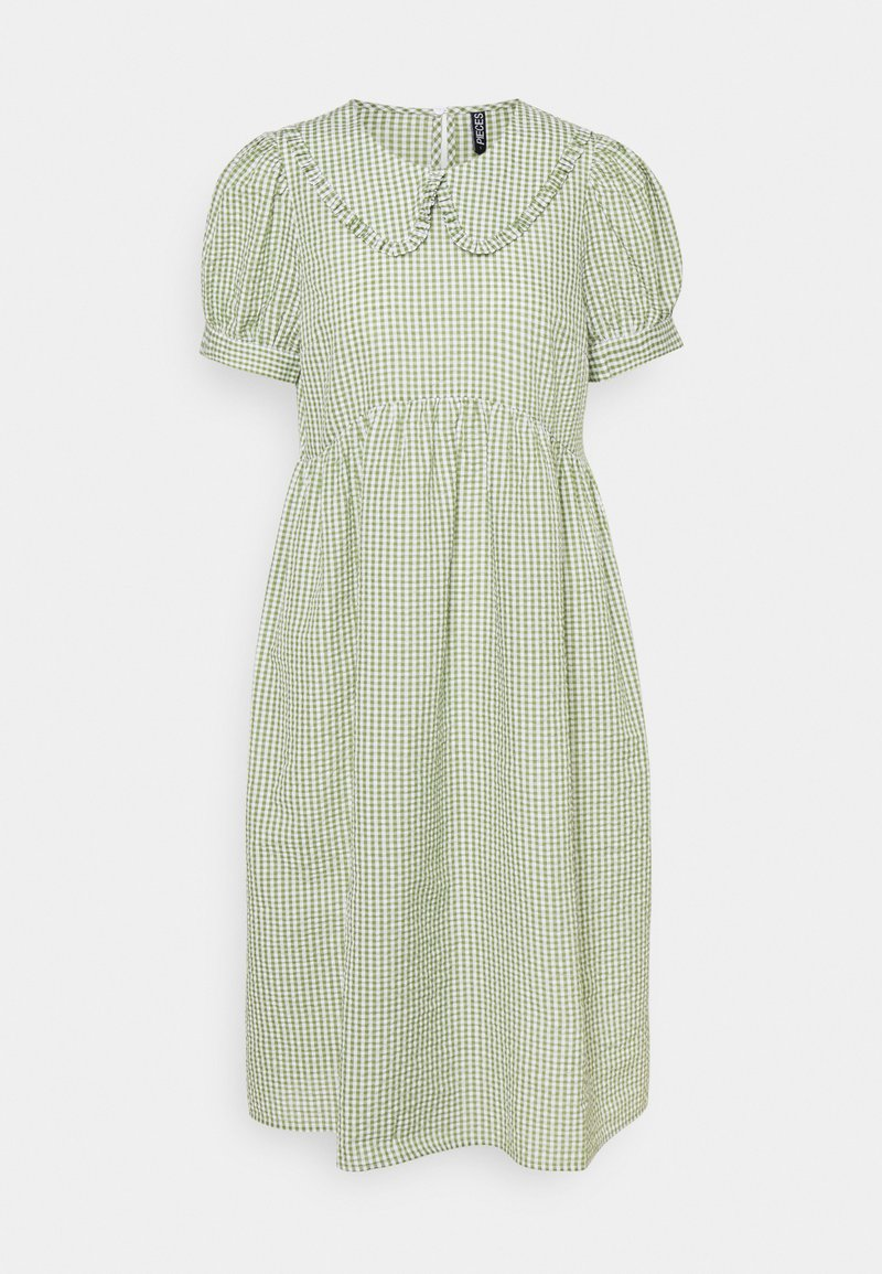 Pieces Petite - PCIDA MIDI DRESS - Shirt dress - bright white/turtle green