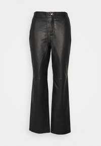 Object Tall - OBJSTEPHANIE PANT - Leather trousers - black - 0