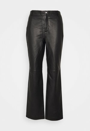 OBJSTEPHANIE PANT - Leather trousers - black
