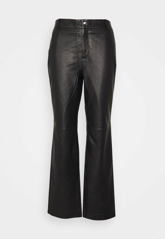 OBJSTEPHANIE PANT - Pantaloni di pelle - black