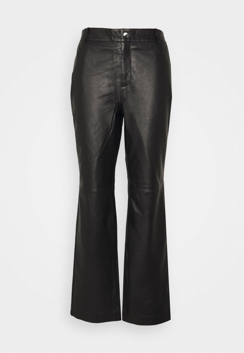 Object Tall - OBJSTEPHANIE PANT - Leather trousers - black