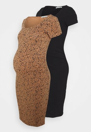 2 PACK - Jersey dress - black/multicolor