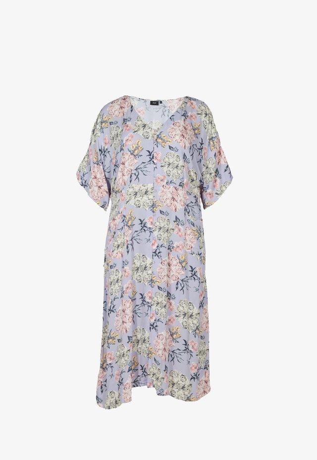 Sukienka letnia - purple dahlia flower