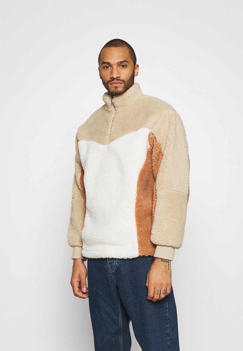 Topman - BLOCKED BORG - Fleece jumper - stone
