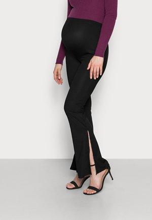 SPLIT SIDE FLARES - Leggings - Trousers - black
