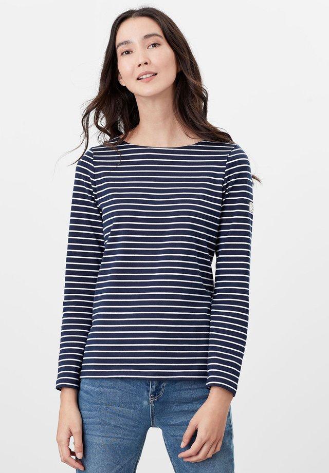 Long sleeved top - cremefarben marineblau streifen