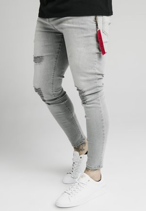 DISTRESSED  WITH ZIP DETAIL - Jeansy Skinny Fit - grey