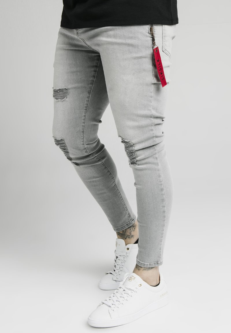 SIKSILK - DISTRESSED  WITH ZIP DETAIL - Jeans Skinny Fit - grey