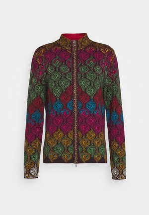 JACKET GEOMETRIC PATTERN - Cardigan - brown/red