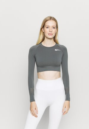 CROPPED LONGSLEEVE CONFIDENCE - Long sleeved top - anthrazit