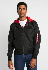 Alpha Industries - HOOD CUSTOM - Bomber Jacket - black - 0