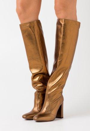 BOOT NO ZIP - High heeled boots - bronze