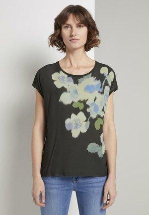 T-SHIRT T-SHIRT IM MATERIAL-MIX MIT FLORALEM PRINT - Print T-shirt - woodland green