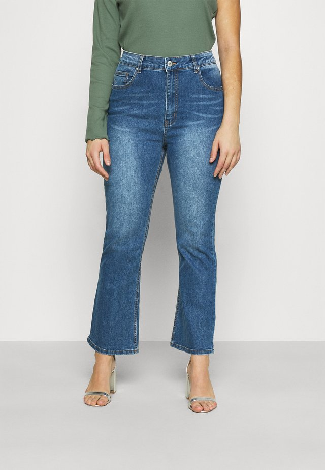 HIGH RISE GRAZER - Jeans a zampa - mid blue washed