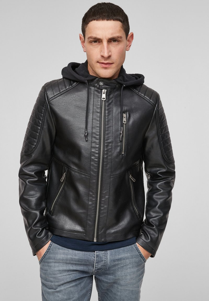 Q/S designed by - Faux leather jacket - black