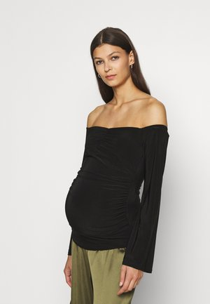 MATERNITY SLINKY RUCHED FRONT - Long sleeved top - black