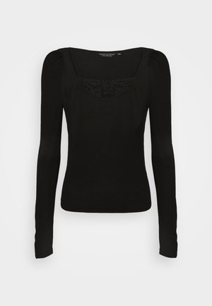 TRIM RUCHED SLEEVE - Long sleeved top - black