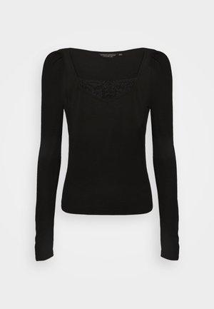 TRIM RUCHED SLEEVE - Bluzka z długim rękawem - black
