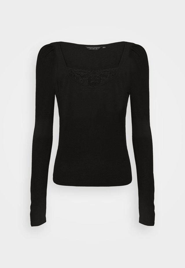 TRIM RUCHED SLEEVE - T-shirt à manches longues - black