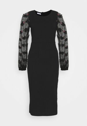 PUFF SLEEVE MIDI DRESS - Robe de soirée - black