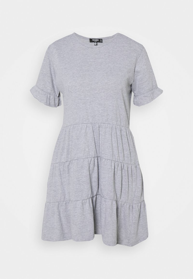 Missguided Petite - FRILL SLEEVE TIERED SMOCK DRESS - Day dress - grey